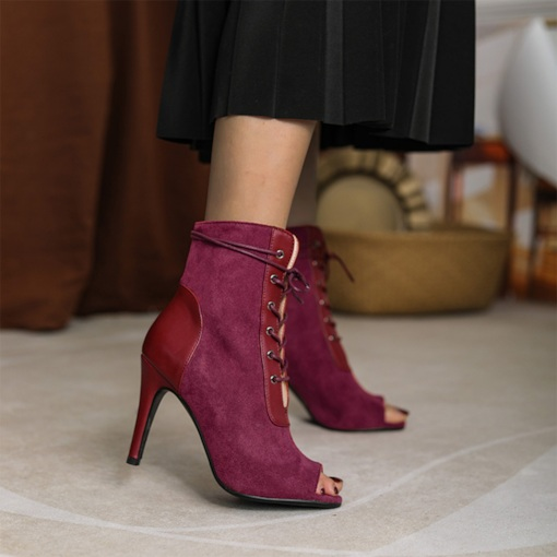 Plus Size Lace-Up Front Patchwork Stiletto Heel Peep Toe Lace-Up Boots