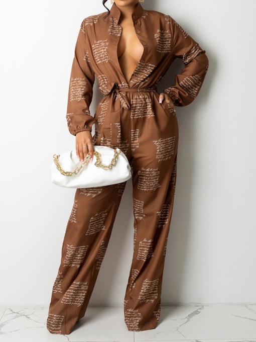 Lace-Up Full Length Letter Sweet Loose Women's Jumpsuit