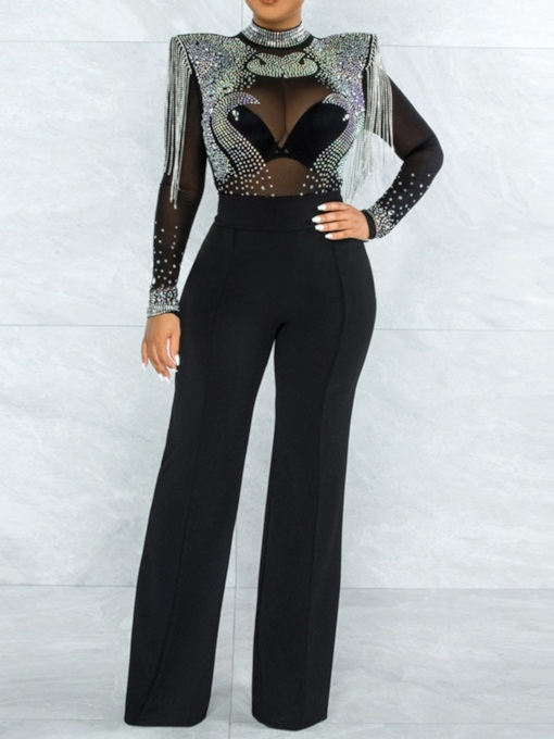 Full Length Color Block Sexy See-Through Mid Waist Women's Jumpsuit