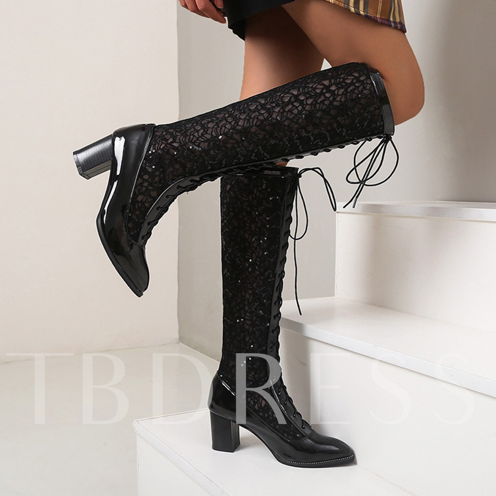 Plus Size Round Toe Chunky Heel Lace-Up Front Plain Professional Boots