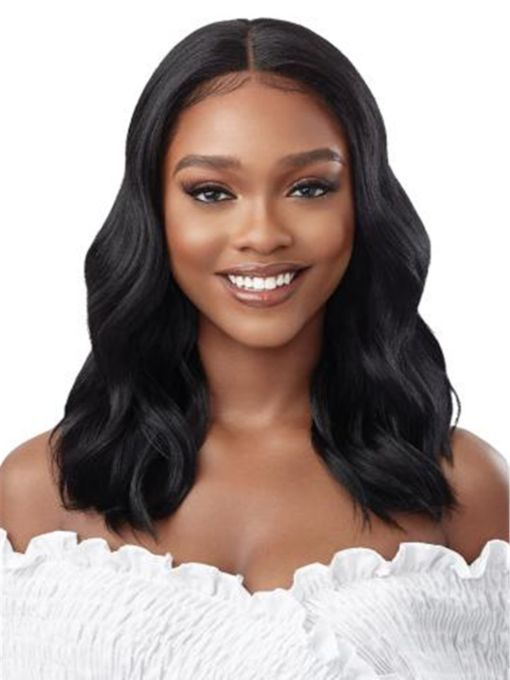 Long Center Part Wavy Human Hair Wigs for African American Women 18 Inches Wigs
