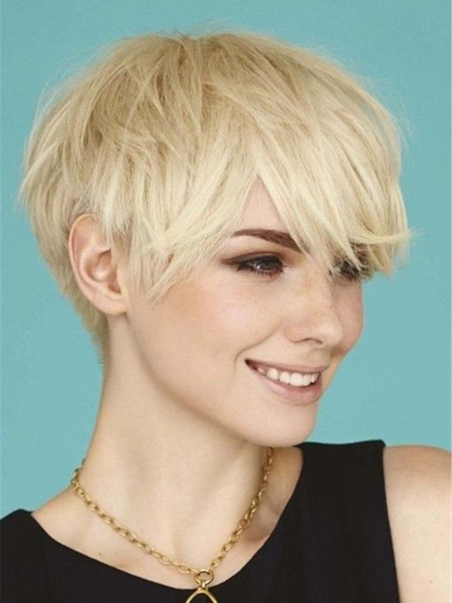 Boy Cut Hairstyle Layered Straight Human Hair Capless Women 10 Inches Wigs