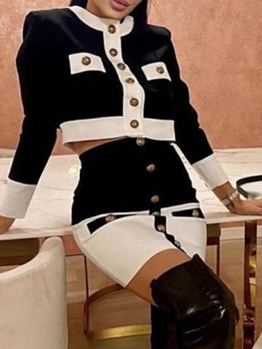 Color Block Skirt Formal Button Single-Breasted Women's Two Piece Sets