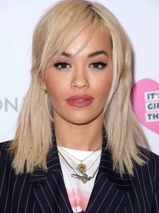 Rita Ora's Side-Swept Bangs And Half-up Half-Down Style Straight Human Hair Capless 16 Inches Wigs