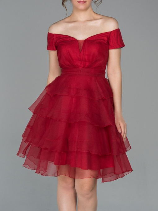 Off-The-Shoulder Short Mini Ball Gown Short Sleeves Cocktail Hoco Dress 2021