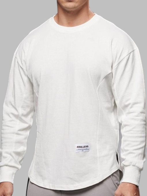 Round Neck Plain Sports Long Sleeves Pullover Men's T-shirt