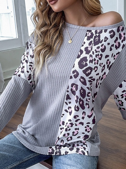 Long Sleeve Color Block Round Neck Mid-Length Straight Women's T-Shirt