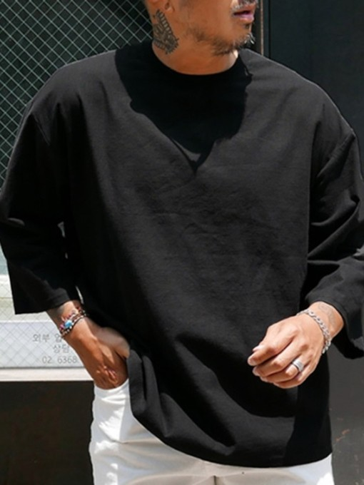 Round Neck Plain Casual Pullover Loose Men's T-shirt