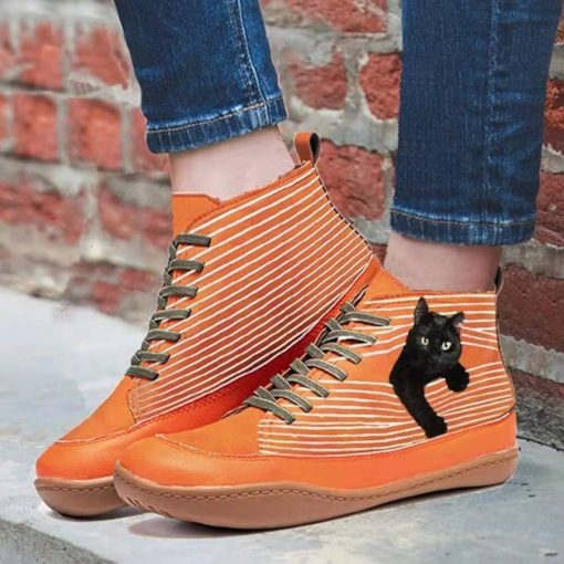 Flat With Round Toe Lace-Up Front Color Block Mesh Boots