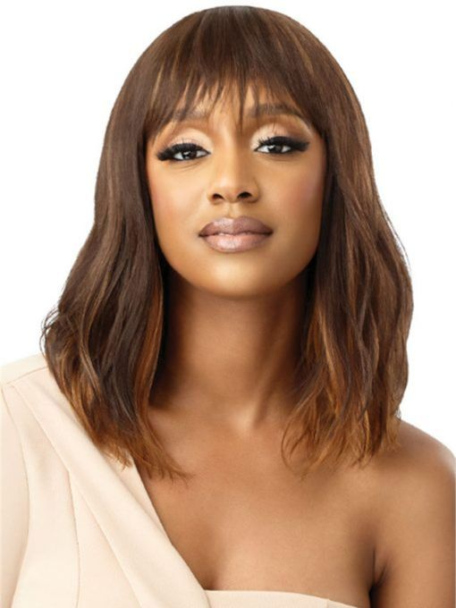 Women's Medium Natural Wavy Human Hair Capless Wigs With Bangs 16 Inches Wigs