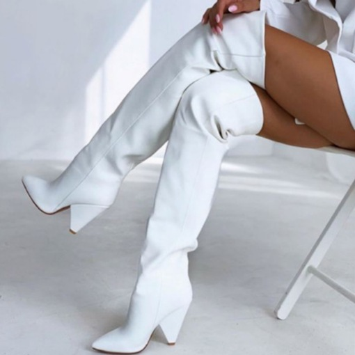 Plus Size Pointed Toe Slip-On Plain Banquet Boots