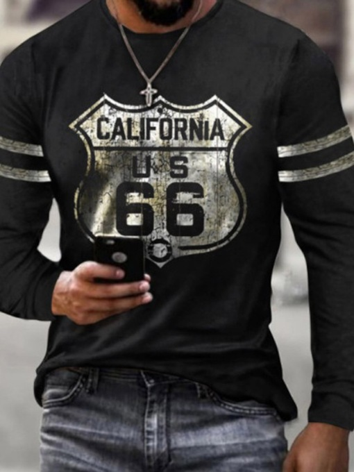 Round Neck Color Block Print Casual Long Sleeve Men's T-shirt
