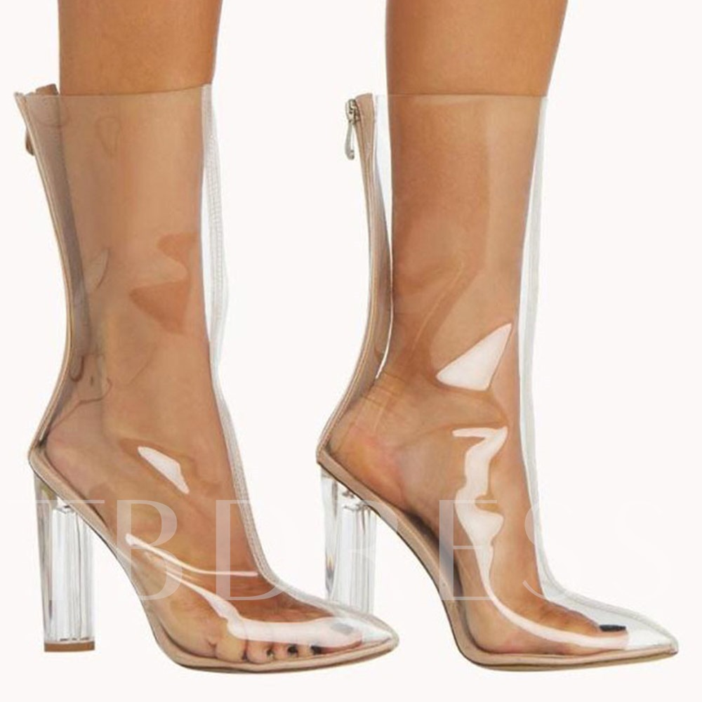 Pointed Toe Chunky Heel Back Zip Plain Banquet Boots