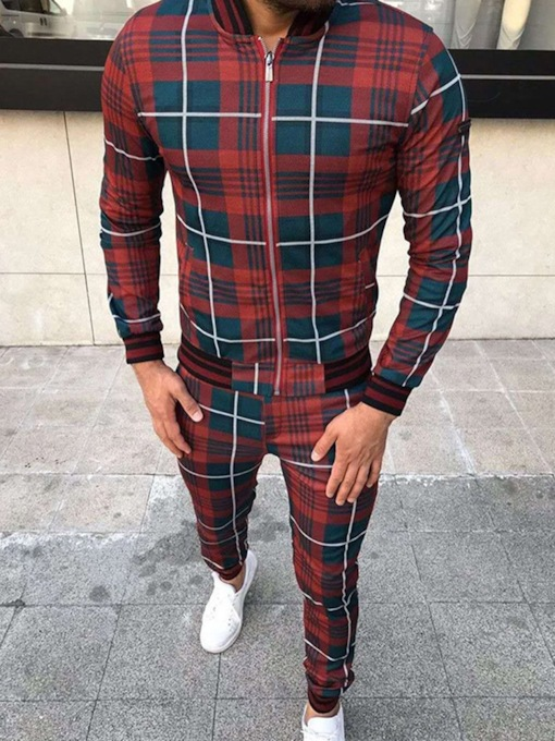 Print Jacket Fashion Color Block Fall Men's Outfit