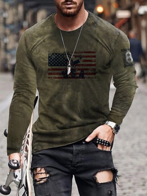 Round Neck Casual Color Block Print Long Sleeve Men's T-shirt