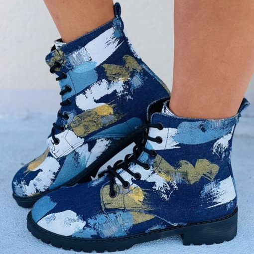 Color Block Round Toe Chunky Heel Lace-Up Front Lace-Up Boots