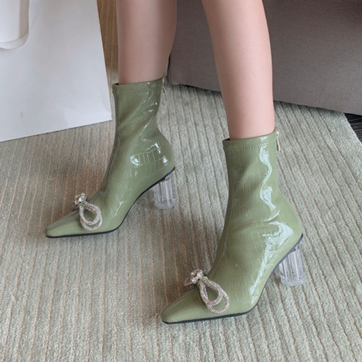 Pointed Toe Chunky Heel Plain Back Zip Banquet Boots