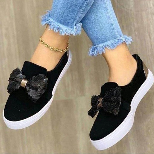 Bow Round Toe Slip-On Flat With Plain Thin Shoes
