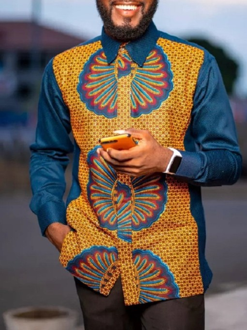 African Ethnic Style Button Lapel Floral Fall Men's Shirt
