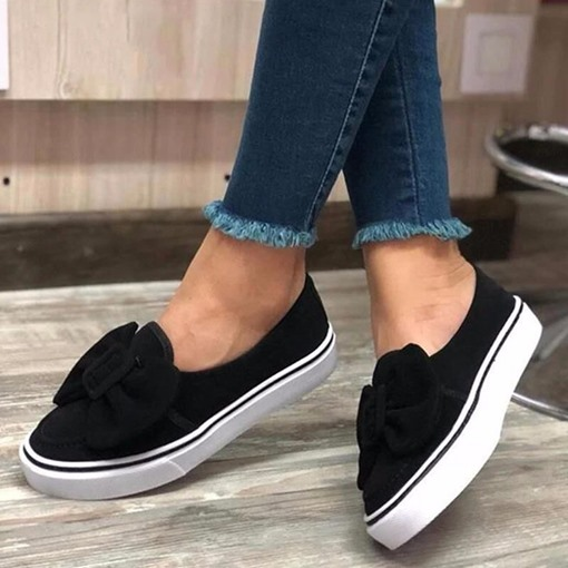 Flat With Round Toe Bow Slip-On Western Thin Shoes