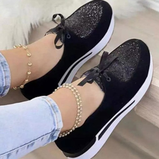 Round Toe Lace-Up Slip-On Patchwork Thin Shoes