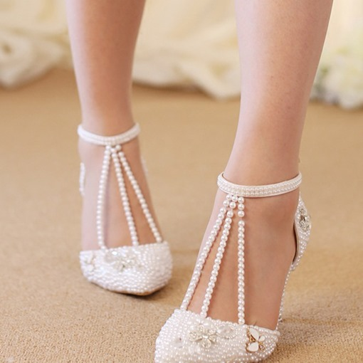 Plus Size Pointed Toe Buckle Beads Stiletto Heel Banquet Thin Shoes