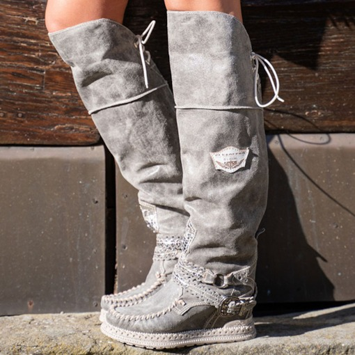 Lace-Up Back Patchwork Round Toe Lace-Up Boots