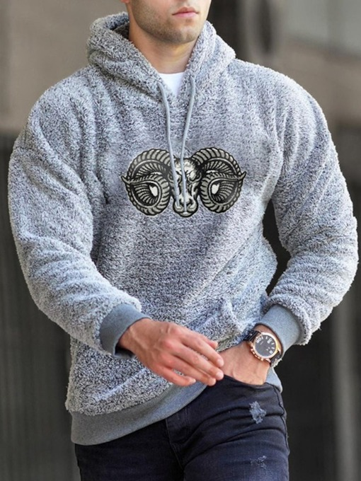 Pullover Color Block Print Hooded Fashion Men's Hoodies