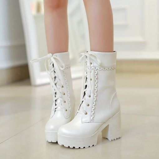 Chunky Heel Round Toe Lace-Up Front Plain Platform Boots