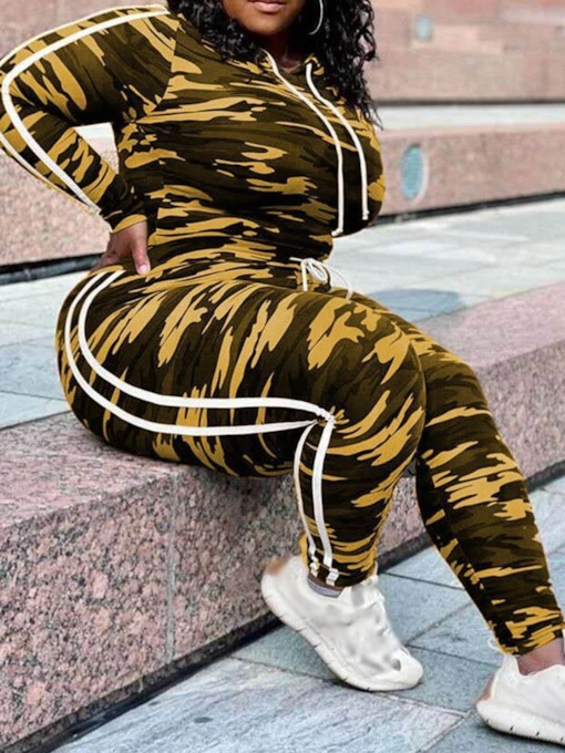 Plus Size Casual Camouflage Hoodie Pencil Pants Women's Two Piece Sets
