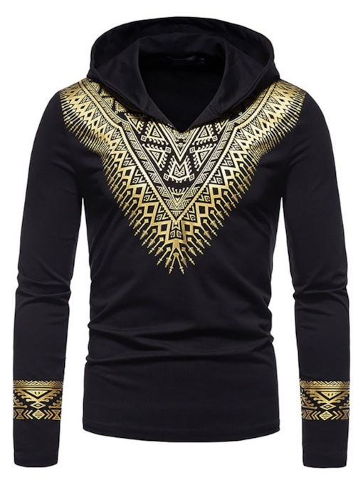 Print Hooded Casual Pullover Men's T-shirt