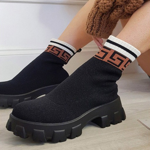 Round Toe Slip-On Patchwork Professional Boots