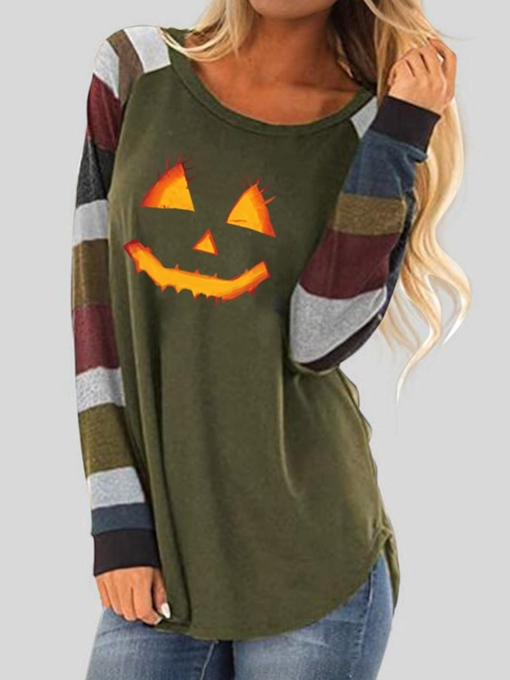 Round Neck Mid-Length Color Block Loose Women's T-Shirt