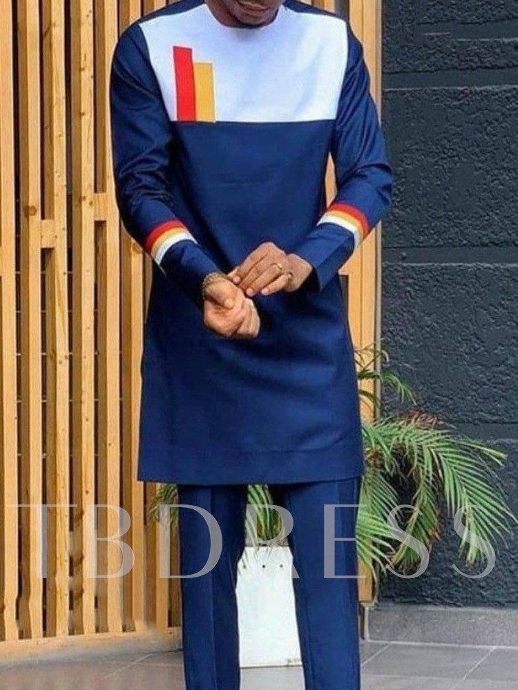 Pants Color Block Patchwork Ethnic Fall Men's Outfit