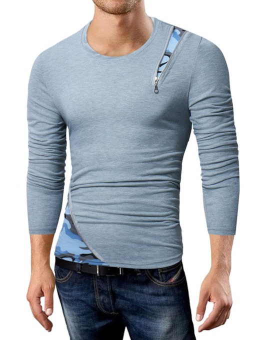 Round Neck Casual Camouflage Patchwork Long Sleeve Men's T-shirt