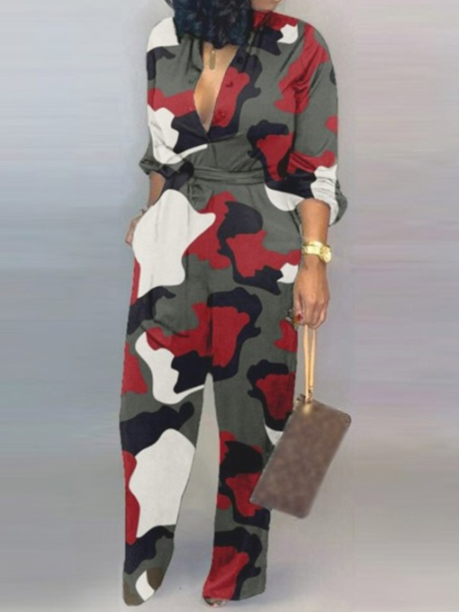 Full Length Lace-Up Camouflage Fashion Slim Women's Jumpsuit