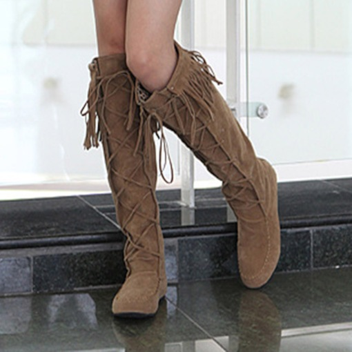 Round Toe Lace-Up Front Plain Professional Boots