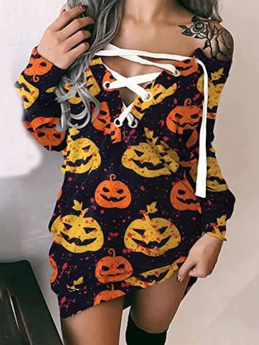 Halloween Long Sleeve Above Knee Lace-Up Sexy Women's Dress