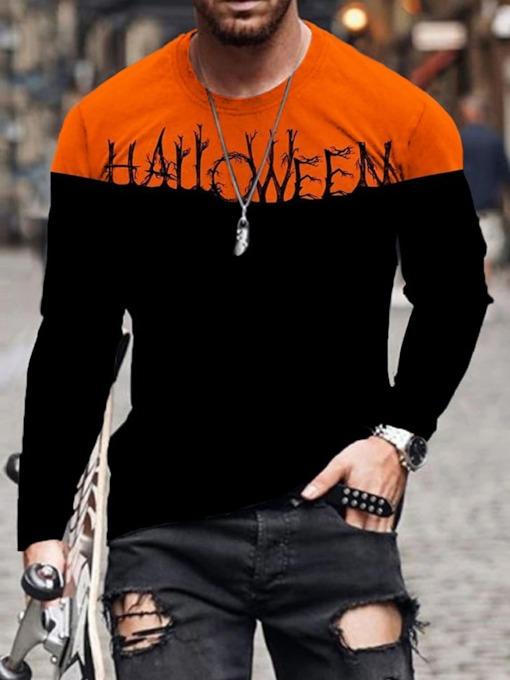 Pullover Casual Round Neck Print Long Sleeve Men's T-shirt