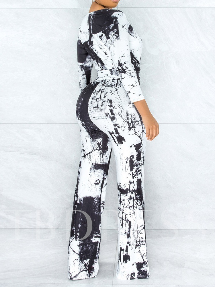 Full Length Lace-Up Sweet Color Block Straight Women's Jumpsuit