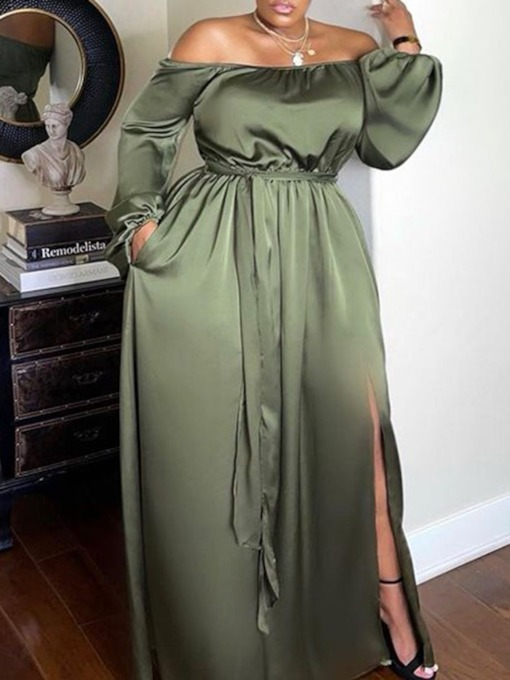 Plus Size Off Shoulder Floor-Length Long Sleeve Lace-Up Pullover Women's Dress