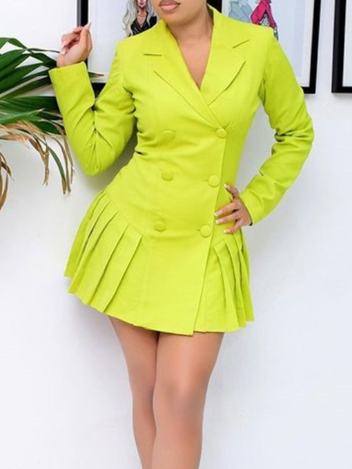 Pleated Above Knee Long Sleeve Double-Breasted Women's Dress