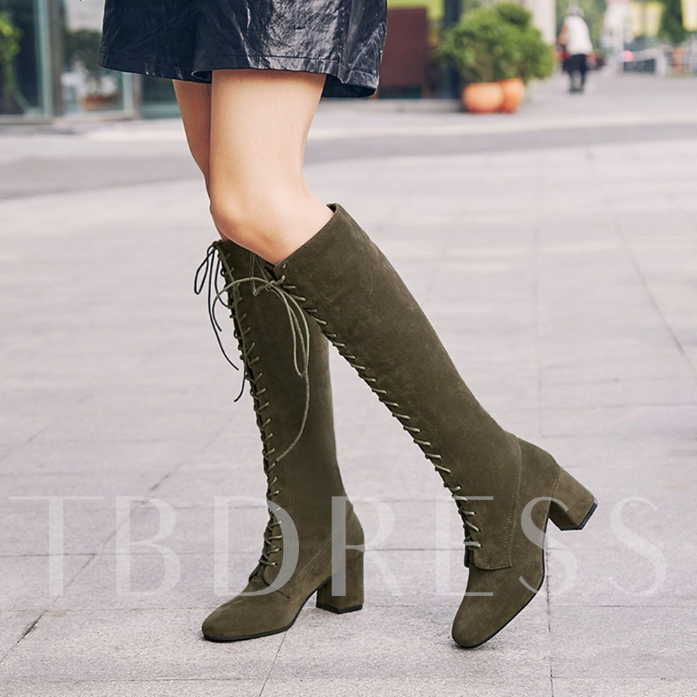 Plain Chunky Heel Square Toe Lace-Up Front Western Boots