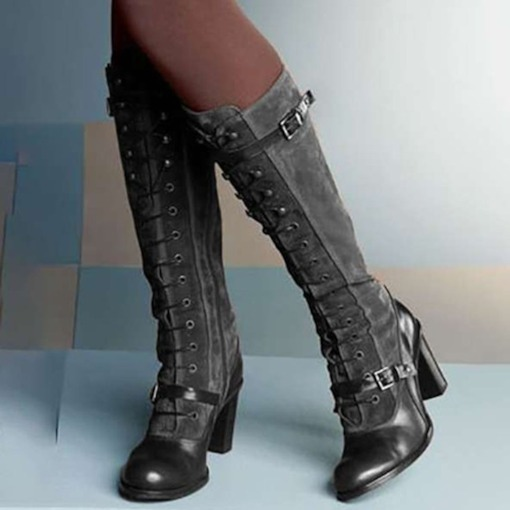 Lace-Up Front Plain Chunky Heel Round Toe Buckle Boots