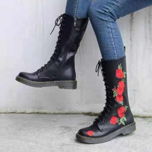 Round Toe Side Zipper Chunky Heel Floral Professional Boots