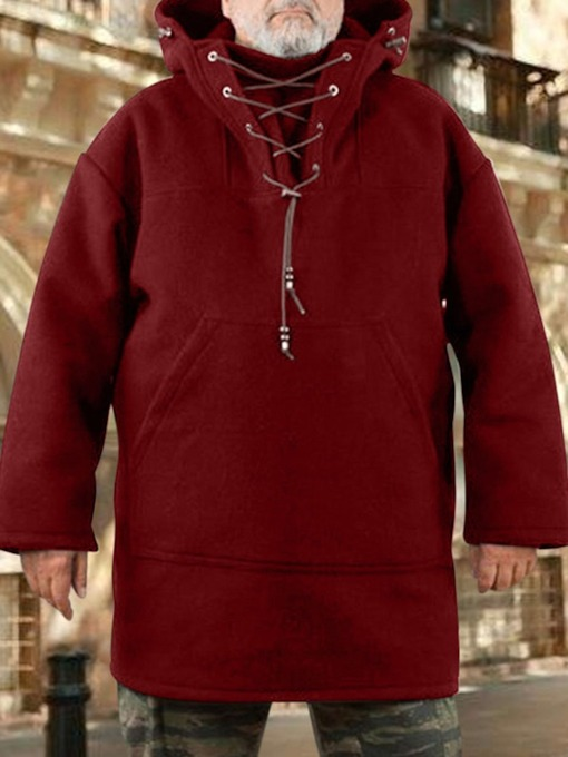Plain Lace-Up Pullover Pullover Men's Hoodies