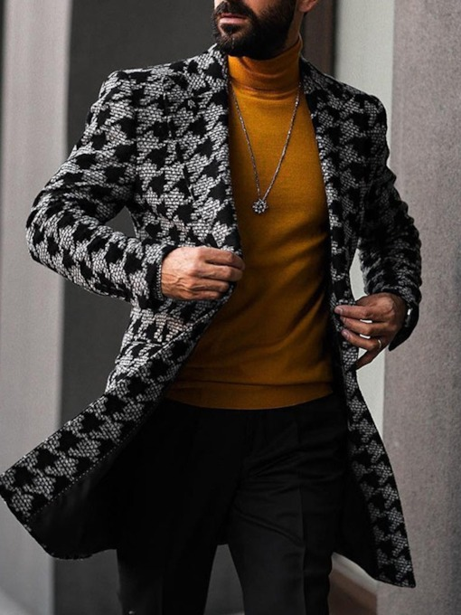 Print Color Block Mid-Length Notched Lapel Double-Breasted Men's Coat