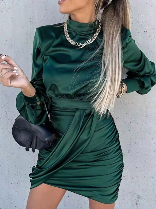 Above Knee Pleated Long Sleeve Stand Collar Pullover Women's Dress