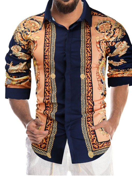 Print Lapel Floral Ethnic Single-Breasted Men's Shirt