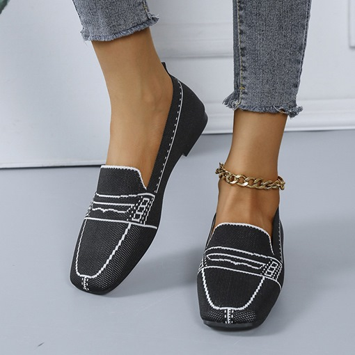 Thread Round Toe Flat With Slip-On Color Block Thin Shoes